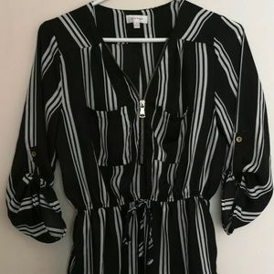 Stella Tweed Stripped Blouse Black and White